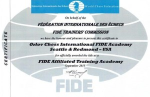 As of November 2015, Orlov Chess Academy is an official International FIDE Academy.